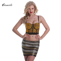 CIEMIILI 2017 Women Summer Tops Evening Party Cocktail Solid Short Length Sleeveless Bodycon Tops Sexy Spaghetti