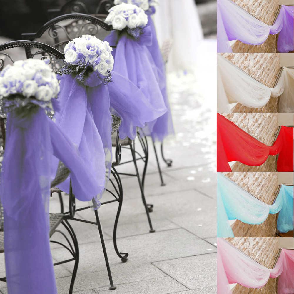 М 10 м * 1,35 Персик Цвет Sheer Swag DIY органза Swag ткань для Свадебные украшения, фон шторы и украшения для стола