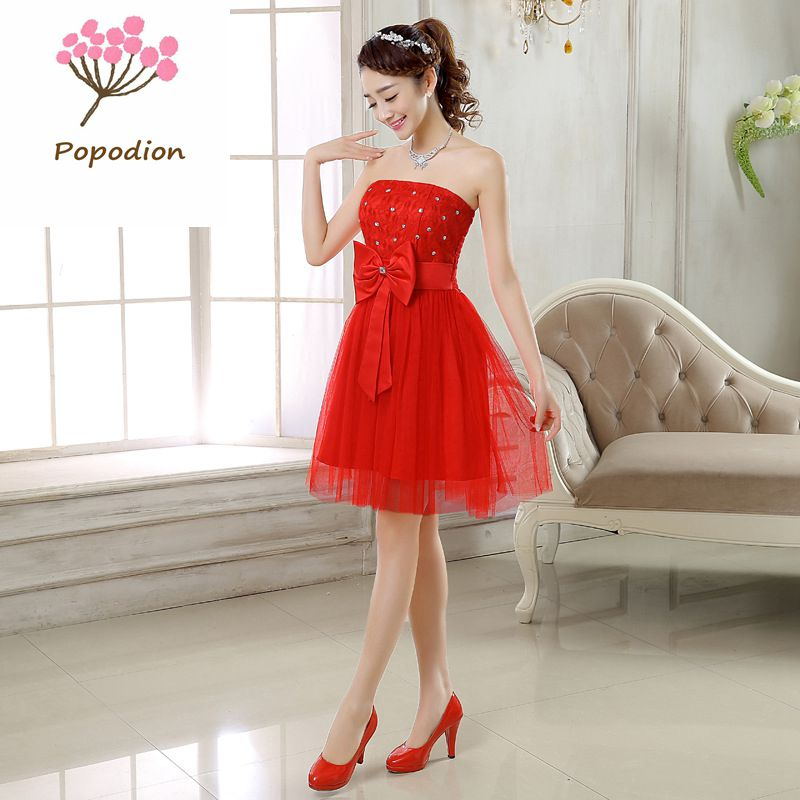 Red bow bridesmaid dresses short for wedding guests sister for Formal dress for wedding guests