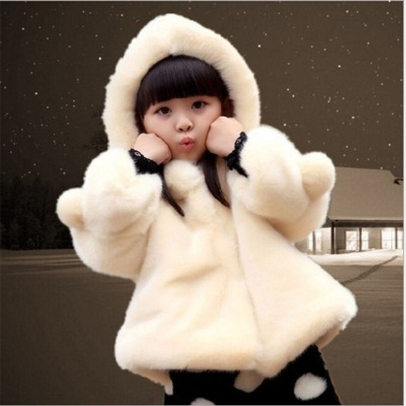 2018 Girls Fur Coat Faux Fur Fabric Girls Jacket Kids Hooded Outerwear Coat Thickened Jacket Children Fur Coat Winter Clothes button tab cuffs hooded belted coat