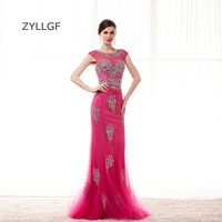 ZYLLGF Fuchsia Mother Dresses Long 2018 Mermaid O Neck Low Back Crystal Beaded Luxury Gown For Mother Wedding Party Dress Q125