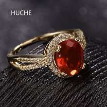 HUCHE Big Luxury Red Cubic Zircon Wedding Ring For Women Female Gold-Color Ring For Engagement Party Bijoux Gift Jewelry HYJR322
