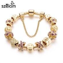 SZELAM Fashion Jewelry Crystal Heart Beads Bracelet for Women Gold European DIY Charm Bracelets & Bangles Pulseira SBR160131