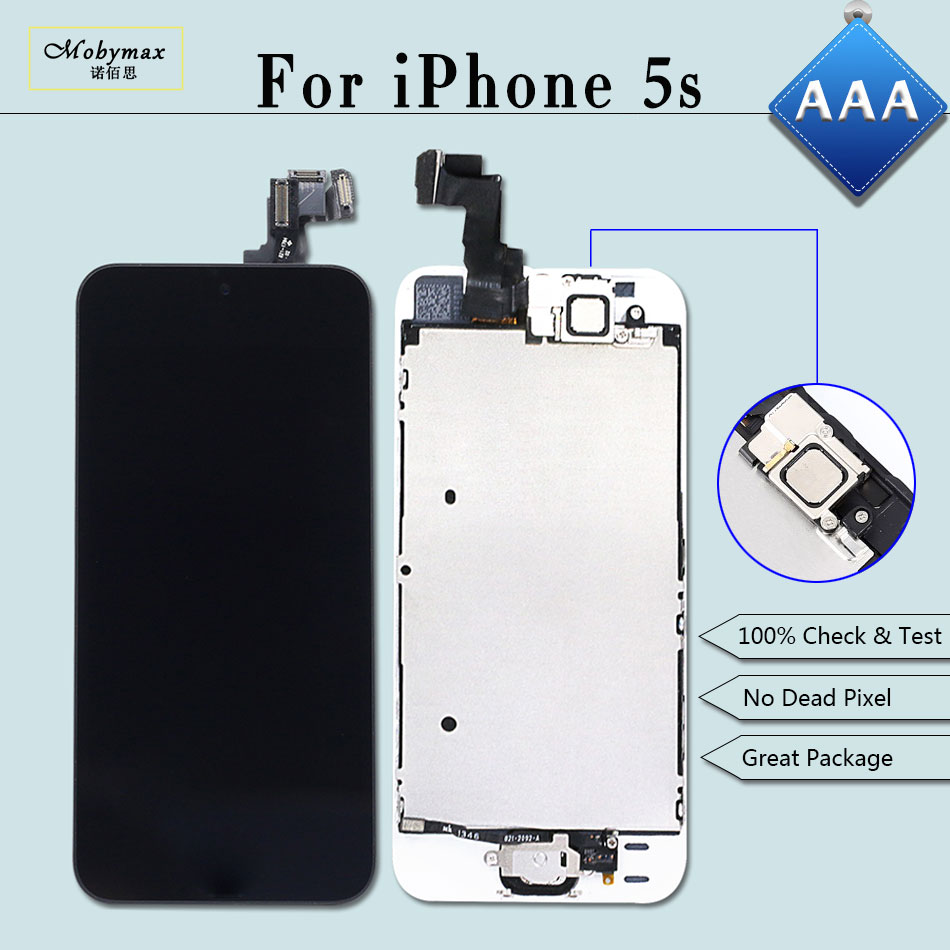 Mobymax AAA Full Assembly for iPhone 5S A1457 A1533 LCD Ecran Pantalla Module Touch Screen Digitizer+Home Button+Front Camera