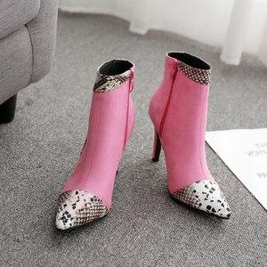 Image 4 - Boussac مثير الأفعى طباعة عالية الكعب النساء الأحذية بووتي حذاء من الجلد للنساء رقيقة كعب النساء الأحذية SWE0588