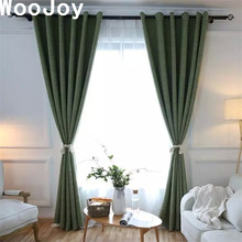 c1023 dark green linen cotton thick blackout window curtains panel for living room tulles blinds