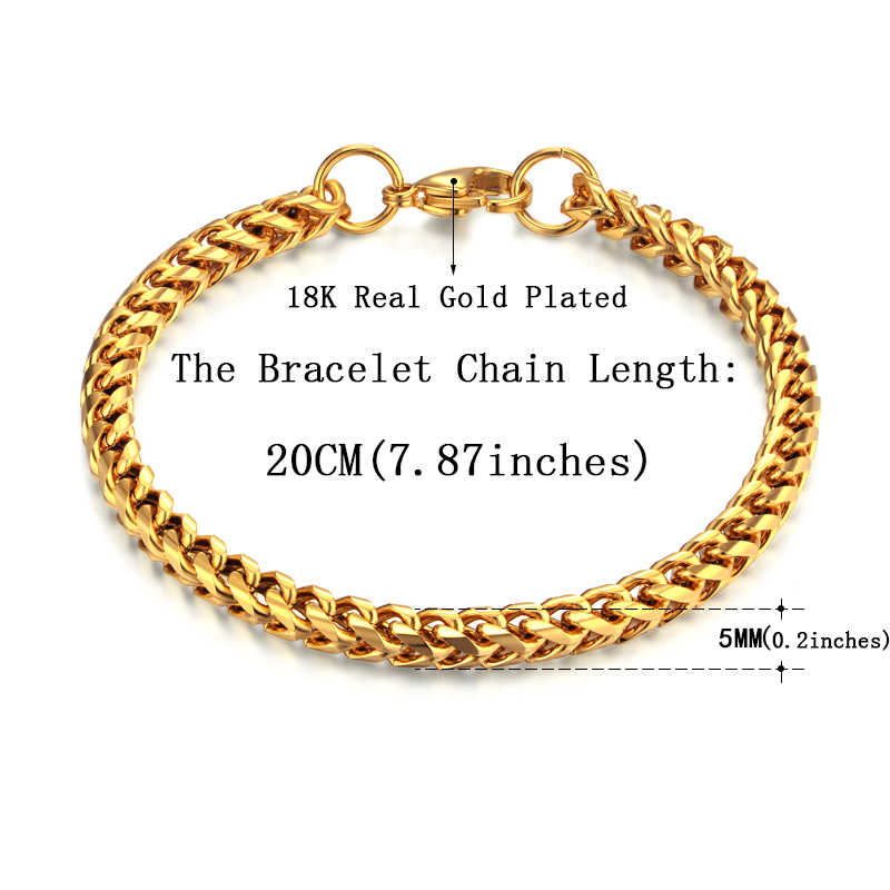 Bracelet Men Jewelry 316L Stainless Steel Chain Link Bracelet For Men/Women Wholesale Braslet 4/5MM Gold Color Male Bracelets
