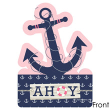 12PCS Ahoy Nautical Girl Party Invitations  Baby Shower Party Supplies Personalized Girl Party Invitation Cards