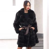New Real Fox Fur Coat Women Winter Fox Fur Coat Real Sable Color Fox Fur Jacket Overcoat Female Ladies Hooded Furs Jackets