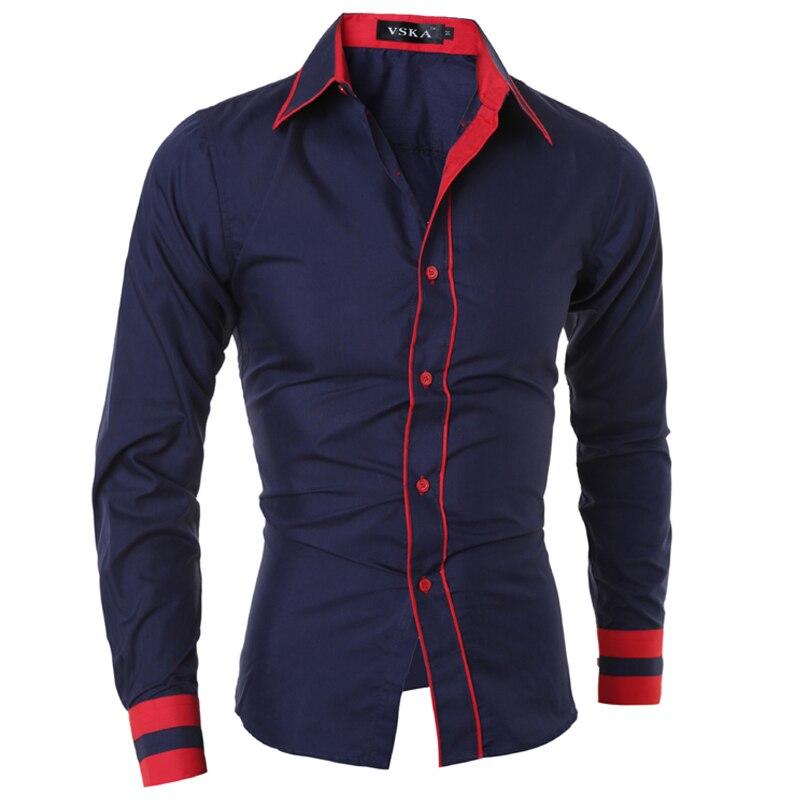 Camisa de hombre 2018 Marca de moda Puño a rayas Camisa de manga larga para hombre Camisa Masculina Casual Slim Chemise Homme XXL SHDWQ