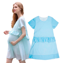 2016 Summer Pregnancy Clothes Fashion Pregnant Woman Chiffon Dresses Loose Casual Short Sleeve O-neck Maternity Mother Dress New