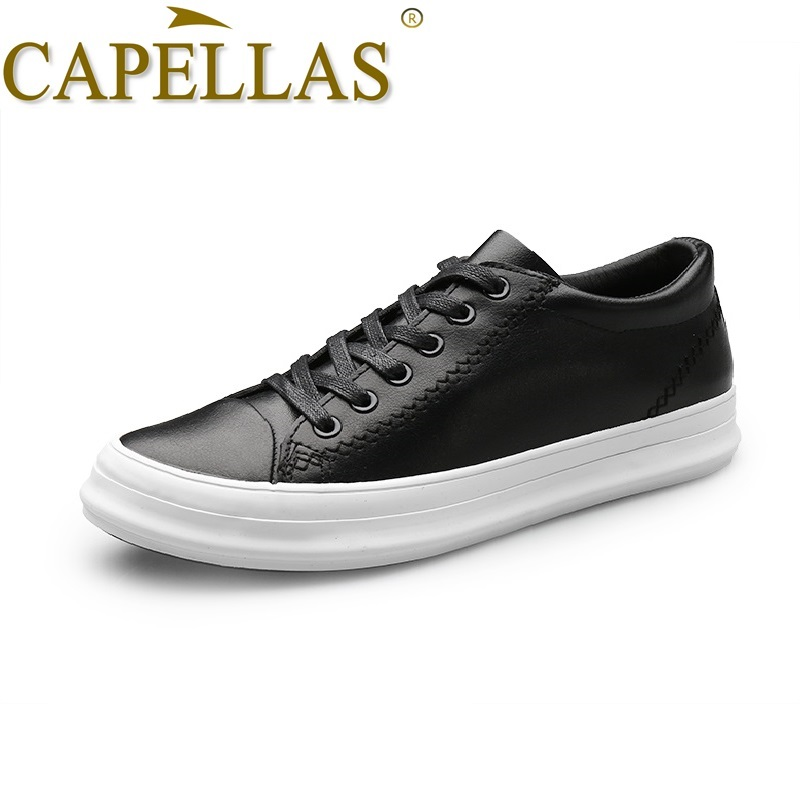 CAPELLAS New Spring Autumn Mens Casual Shoes High Quality Men`s Fashion Leisure Shoes Breathable Men Leather Shoes Size 39-44 super warm fashion fleece inside men jeans high quality cotton jeans men casual straight slim mens jeans size 28 38 nzx9008