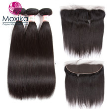Moxika Brazilian Straight Human Hair weaves With Closure 13x4Inch Ear To Ear Lace Frontal Closure With 4Bundles 5pcs/lot Remy(China)