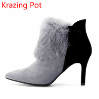 New Arrivel Cow Suede Rabbit Fur Mixed Colors Wedding Shoes Office Lady Keep Warm High Heels