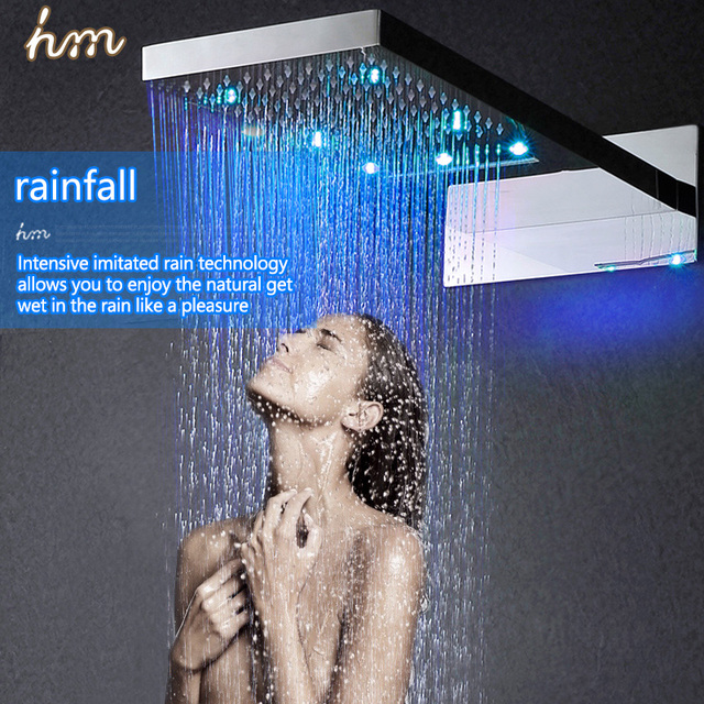 Beau Showerheads Modern Led Shower Head Panel Wall Mounted Rainfall And  Waterfall Massage Shower 304 Stainless Steel