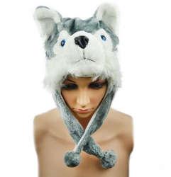 Мода для животных Hat Сибирский хаски Кепки пушистые плюшевые мультфильм идеальный подарки унисекс