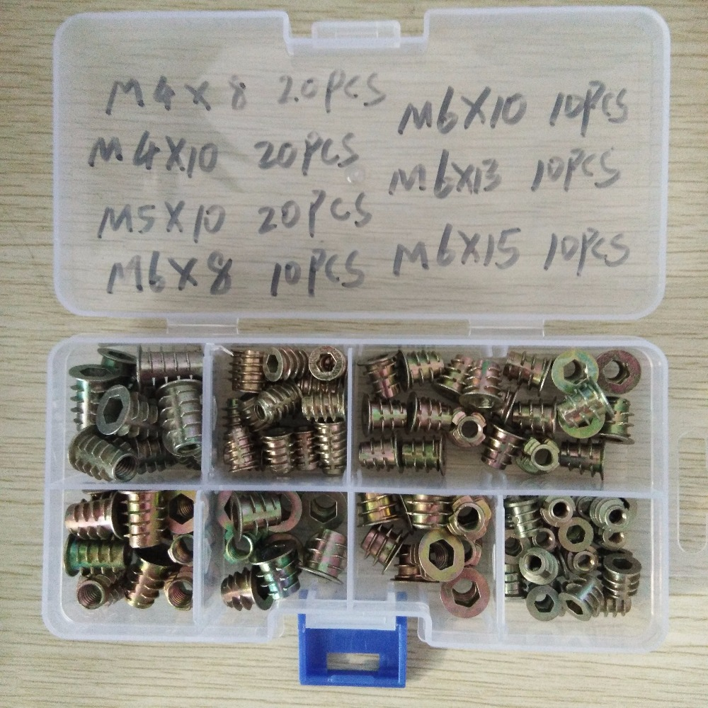 100Pcs/set M4//M5/M6*8/10/13/15Zinc Alloy Thread For Wood Insert Nut Flanged Hex Drive Head Furniture Nuts Assortment Kit 100Pcs/set M4//M5/M6*8/10/13/15Zinc Alloy Thread For Wood Insert Nut Flanged Hex Drive Head Furniture Nuts Assortment Kit
