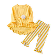 New Spring Autumn Fashion Girls Clothes Kids Ruffled Top + Striped Pants Sets 3-7Y