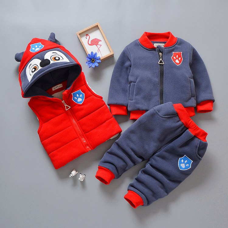 2018 Winter New Boys Clothes Fashion Cute Boys Cartoon Dog Puppy Thickened Jacket Three Pieces Hooded Waistcoat+hooded+pant цена