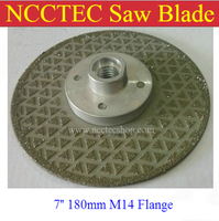7 2 sided Electroplated Diamond circle saw blade FREE shipping   180mm cut disc for cutting grinding stone   with M14 flange