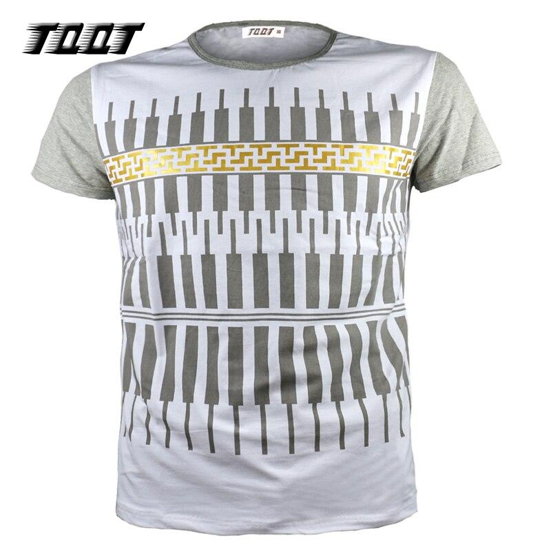 TQQT Casual T-shirt Heren O-hals Tees Patchwrok Shirt Pianopatroon - Herenkleding