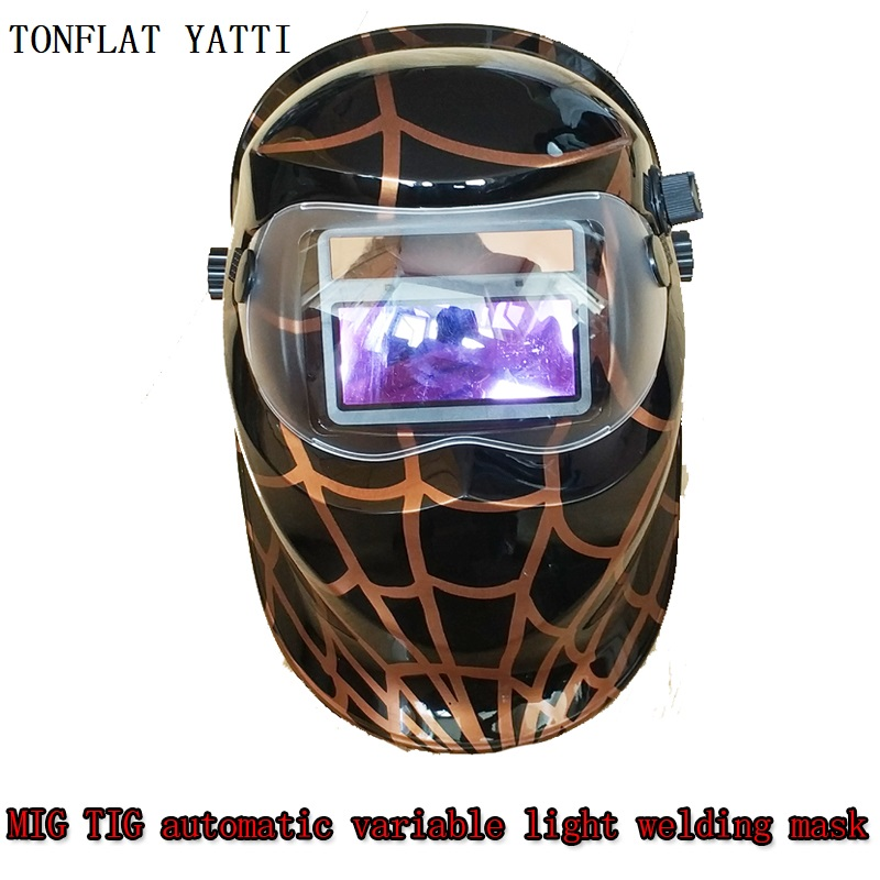 New 2018 Welding 4 Arc sensor Double screen 90cmx110cm Solar energy screen TIG welding caps MIG welding hood MAG helmet safurance leather hood welding helmet