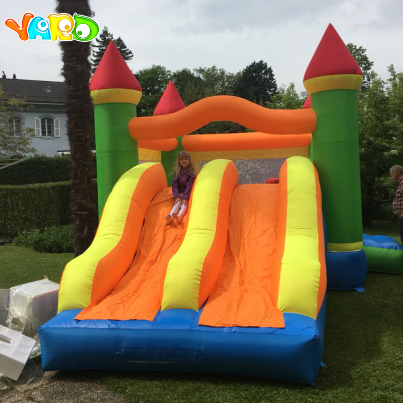 YARD 6.5*4.5*3.8m Inflatable Jumping Castle Double Slides for Kids Oxford PVC Inflatable Trampoline Bouncer House Outdoors Games china guangzhou manufacturers selling inflatable slides inflatable castles inflatable bouncer chb 29