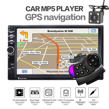 2 Din Car MP4 MP5 Radio Player 7 inch Touch Screen GPS Navigation Player USB FM Rear View Camera Steer Wheel Control EU Map Free