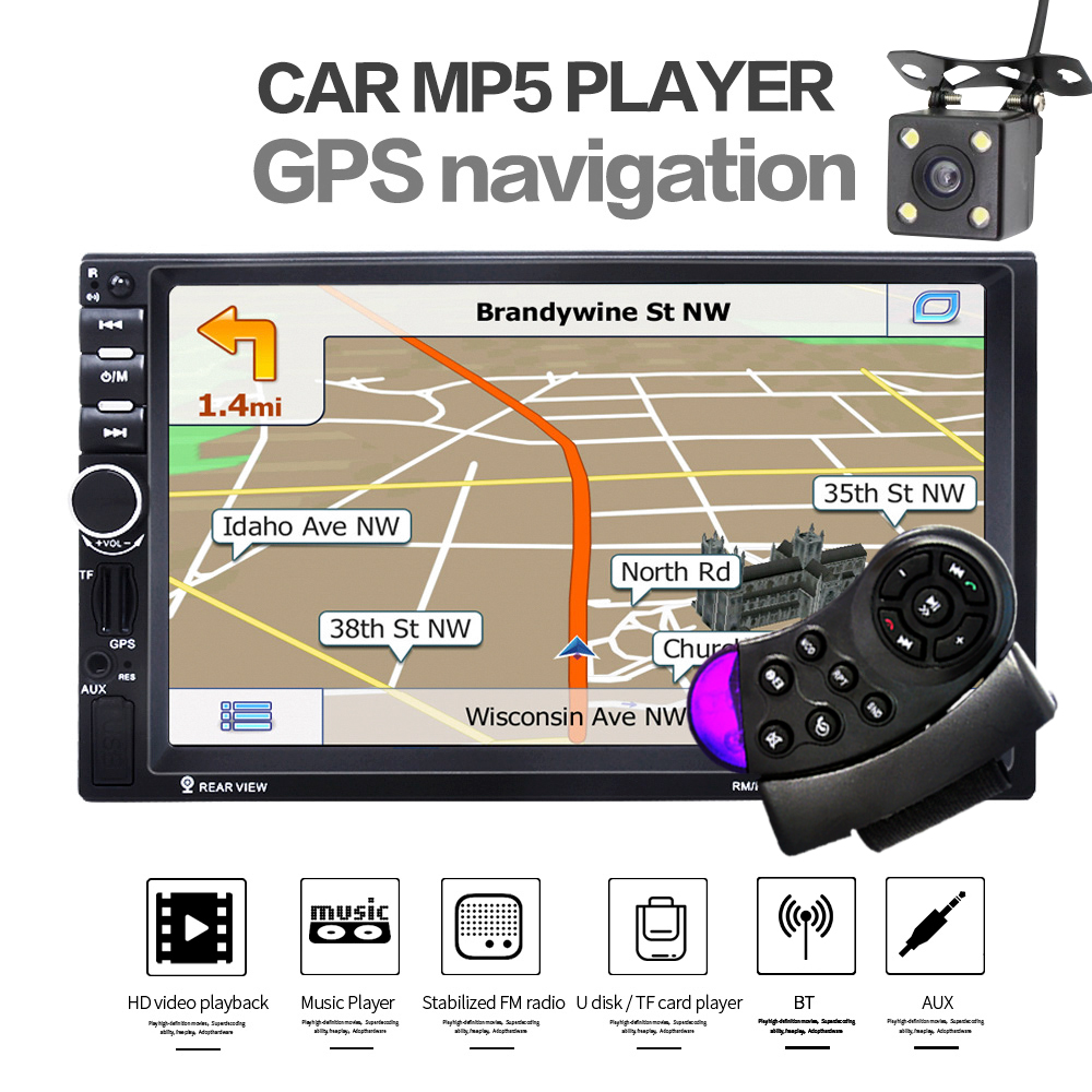 2 Din Car MP4 MP5 Radio Player 7 inch Touch Screen GPS Navigation Player SD USB AUX Rear View Camera Steer Wheel Remote Control