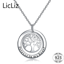 LicLiz 925 Sterling Silver Tree Of Life Necklace Women Big Circle Round Necklace Pendant Charm Initial Letter Collars LN0217