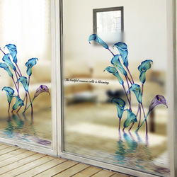 2016 Quick DIY 60x58cm Easily Remove calla lily Decoration Window Film UV Rejection window reflective film glass sticker