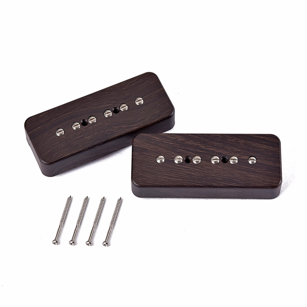 Replacement Pickup Set for P90 6 string Alnico 5 single coil pickup wood color for Electric Guitar Bridge