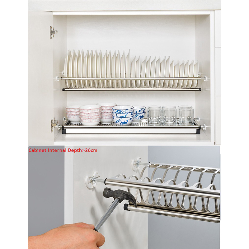 DIY 2 Tier Stainless Steel Cabinet Dish Drying Rack Plate Storage Organizer Dish Drainer Cabinet Bowl