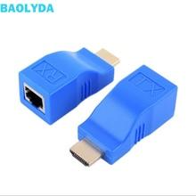 цена на Baolyda HDMI Extender 30M HDMI Network Extender Transmitter & Receiver Adapter V1.4 RJ45 CAT5E CAT6 Ethernet LAN 1080P Converter