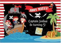 custom Pirate Ship Sea Palm Tree Map Striped Birthday background High quality Computer print party backdrops