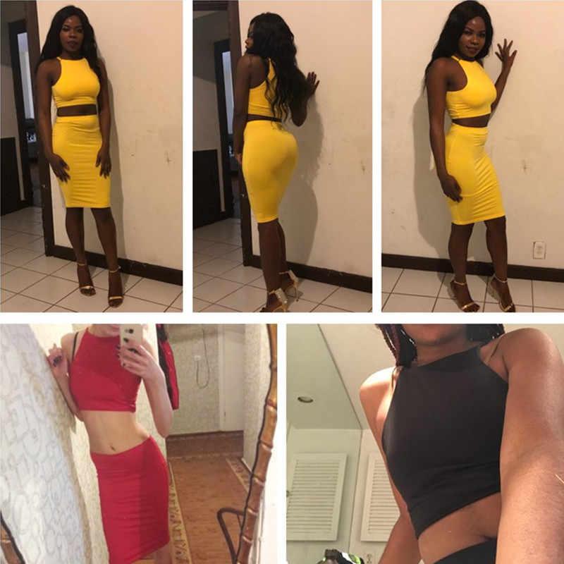 ANJAMANOR krótki top i spódnica sukienka dwuczęściowa zestaw żółty klub strój na lato seksowne ubrania dla kobiet pasujące zestawy D53-AZ17