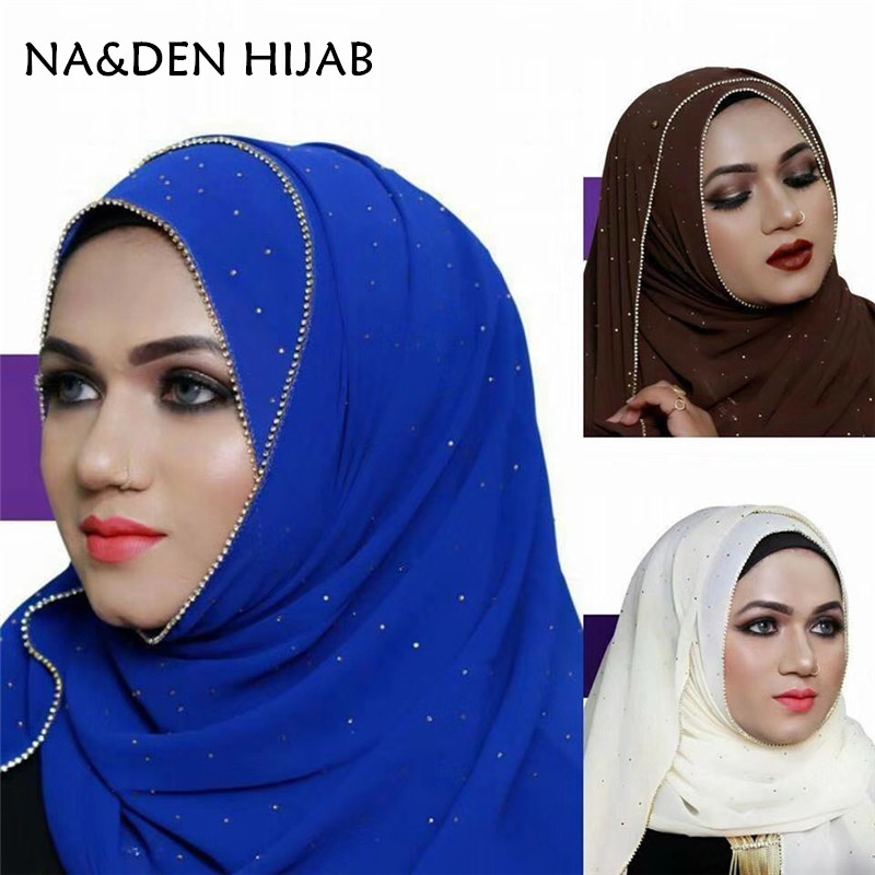1 PCS Fashion Luxury Hot Gold Diamonds Chains Borders Scarf Women Shawl Plain Solid Chiffon Bandana Foulard Hijab Muslim Wraps