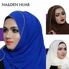 1 PCS 패션 럭셔리 핫 골드 다이아몬드 체인 테두리 스카프 여성 목도리 일반 솔리드 시폰 두건 풀라 우즈 hijab 이슬람 포장