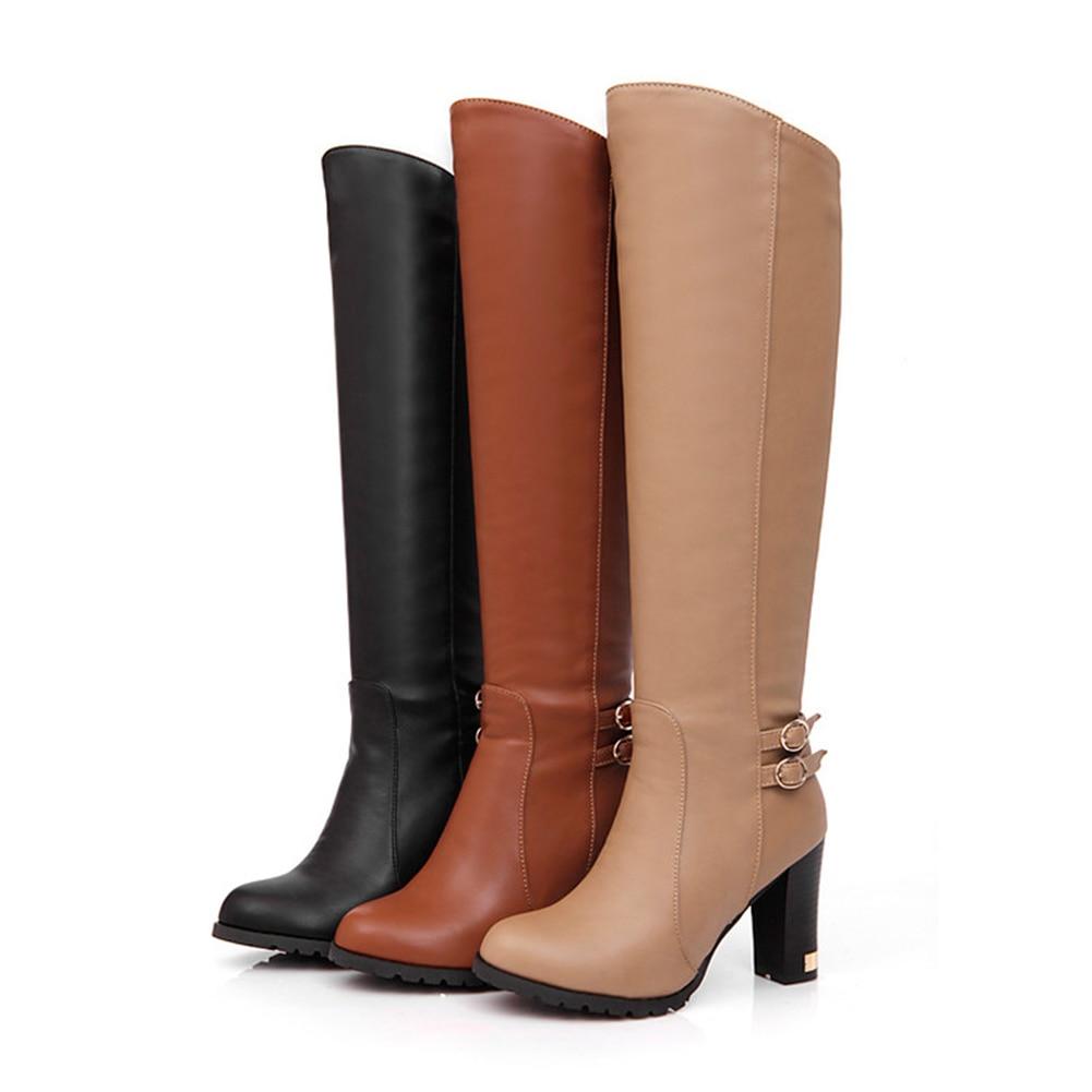 Chaud 43 Haute khaki Talons Chaussures Bottes Casual Ceinture Bonjomarisa Femme Taille Boucle Zip Grand Hiver marron 34 Noir Genou Nouveau De Hauts Solide Carré pGMjqUzVLS
