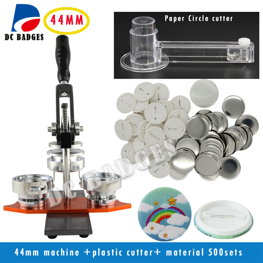 Free Shipping Factory Directly Selling 1 3/4 44mm Badge Button Maker Machine +Circle Cutter+500 Sets Pinback Supplies