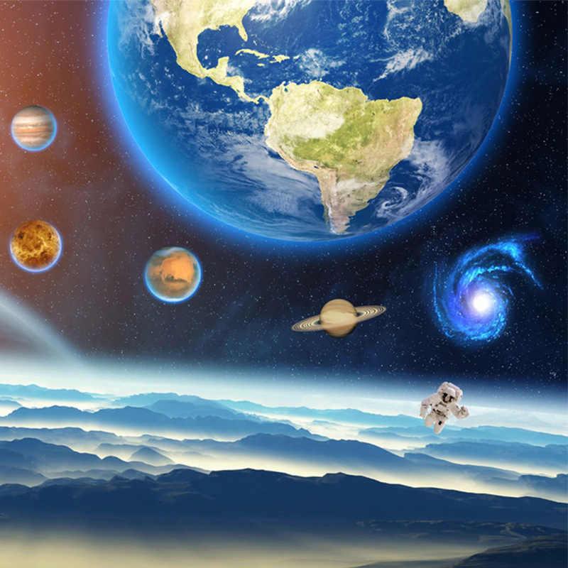 صور خلفيات ثلاثية الأبعاد ستيريو كوكب الكون السماء المرصعة بالنجوم جدارية طلاء جدران غرفة نوم الأطفال الكرتون ورق حائط الخلفية ديكور
