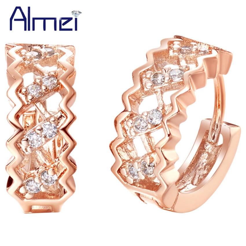 baa8d85905e3 Almei venta novia pendiente con piedra cúbica circón oro rosa color cristal  Pendientes de broche para las mujeres aretes ohrring joyería r320