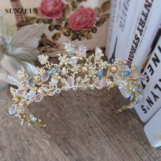 Hand-made Wedding Tiara Gold Crown With Rhinestones Jewelry Coroa Para Noiva Tocados De Pelo Para Bodas SQ082-2