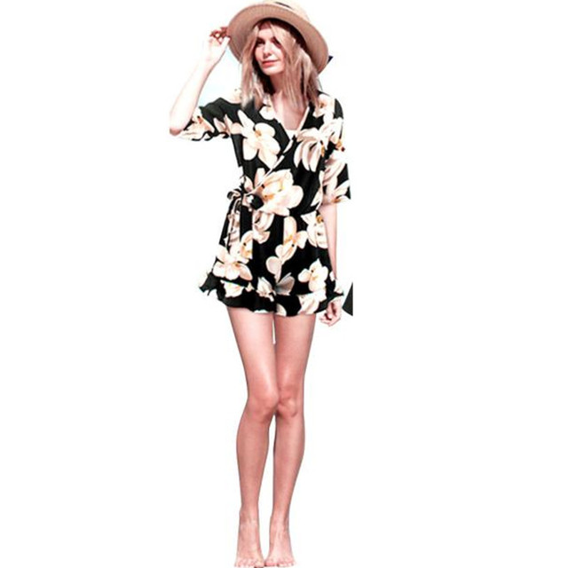 2017 Summer New Beach Style Flower Printed Palysuit Women Plus Size Floral Chiffon Playsuit Clubwear Party Jumpsuit Romper D311