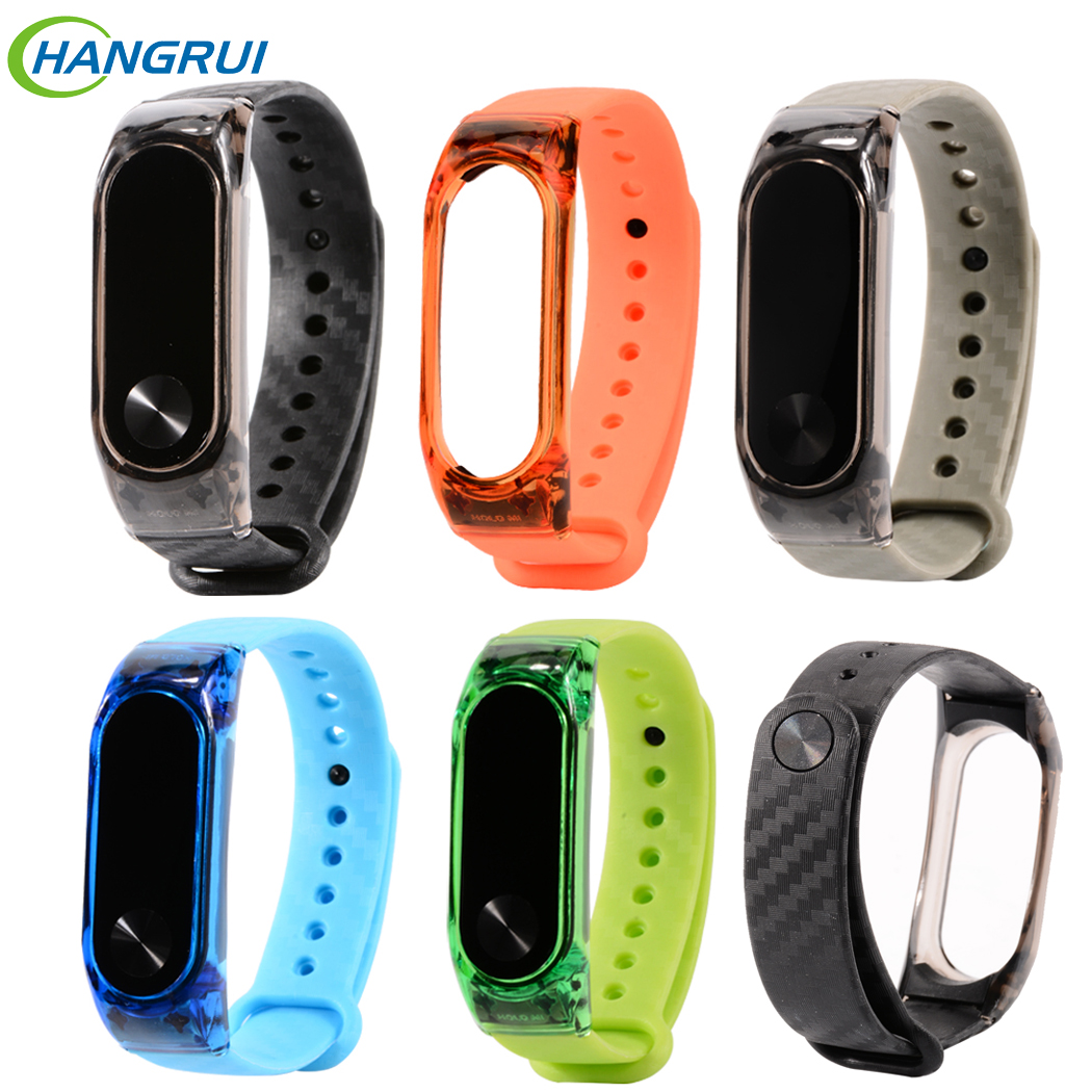 Hangrui Replacement For Mi Band 2 Crystal Case Carbon Fiber Bracelet Fitness Tracker Colorful Mi Band 3 Metal Case Strap Sports