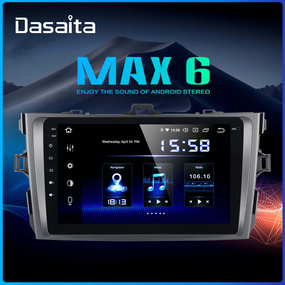 "Best Dasaita 1 Din 8"" IPS Android 9.0 Car Radio for Toyota Corolla 2009 2010 2011 2012 2013 DSP Bluetooth GPS 4GB RAM 0"