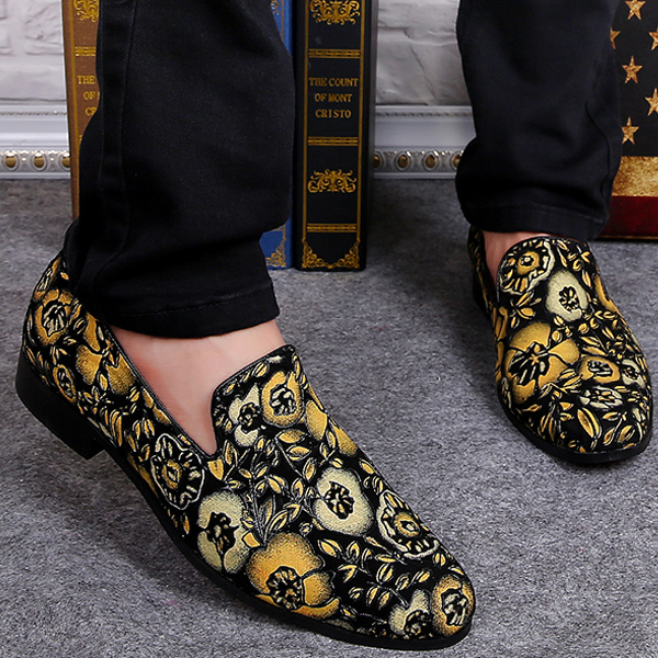Womens Slipper Floral Slip On Loafers Fashion Casual Summer British Velvet Shoes