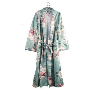 Sexy Kimono robe Cardigan Women Fashion Green Floral Print sashes Costumes Beach Long Blouse shirts Japanese chinese boho kimono