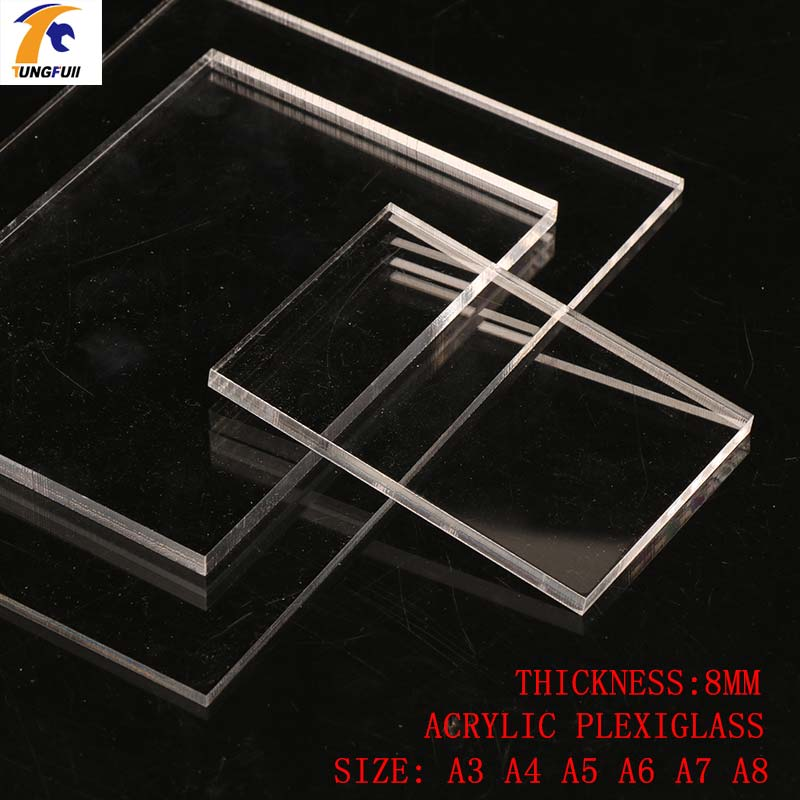 TUNGFULL 8mm Thickness Acrylic Sheets A4 A5 A6 A7 A8 Transparent Plastic For Window Decor Sheet Plast Acrylic Plastic Parts 1pcs yt772 acrylic board transparent organic glass diy plastic building model material thickness 1 2 3 5 mm area 10 20cm