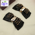 1 pair black bow shoe clip fabric buckle decoration N666